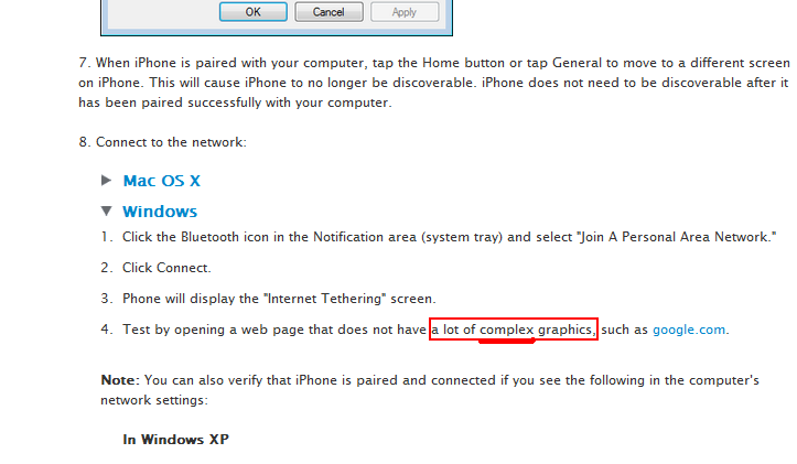 Apple Tethering Instructions